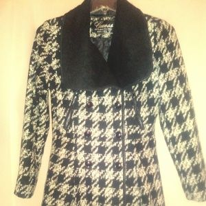 Guess Black and White Checkered Tweed Pea Coat